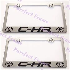 2X Toyota C-HR Stainless Steel License Plate Frame Rust Free W/ Bolt Caps