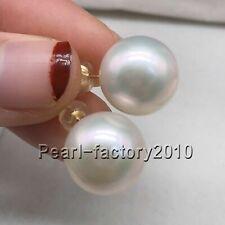 AAAA huge 14-13MM  south sea white pearl earrings 14K  GOLD
