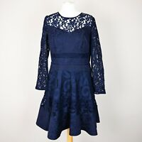 £139 COAST Merinem Lace Sleeve Dress SIZE UK 14 A-line Fit & flare Navy short