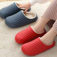 Winter Womens Mens Waterproof Slippers Indoor Fur Lined Warm Couple Shoes
