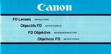 CANON FD Objektive - Bedienungsanleitung - B2128