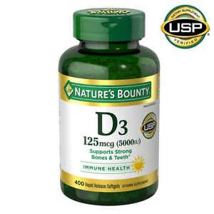 Nature's Bounty Vitamin D3 125mcg 5000 IU Bone Teeth Immune 400 Dietary Softgels