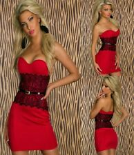 Sz 10 12 Red Strapless Black Lace Sexy Formal Cocktail Party Slim Fit Mini Dress
