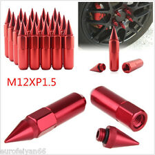 20 Pcs Red Aluminum Alloy Spiked M12XP1.5 Autos Wheel Lugs Nuts For Ford Fiesta