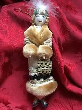 NEW Exceptional TALL Glass LADIES With ELEGANCE Faux Fur Coat Christmas ORNAMENT