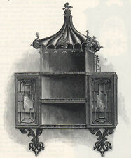 HANGING CHINA CABINET, BY CHIPPENDALE 1881 Furniture VICTORIAN PRINT
