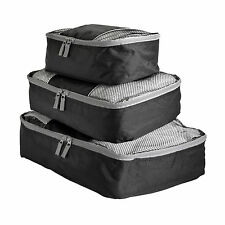 Travel Packing Mesh Bag, Packing Cubes - Assorted 3PC Set - Solid Black