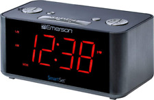 Emerson Smart Set Fm Radio Alarm Clock Dual Alarm Speaker Red Led Display New