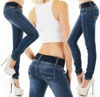 Women's Skinny Jeans Dark Blue Wash Stretch Denim Belt Included Size XS S M L XL