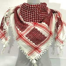 Hirbawi Scarf Arab Shemagh Original Keffiyeh Red and White, Brand Cotton Unisex