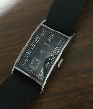 Vintage 1930-40s Zenith Black Dial Wristwatch. Stainless Steel Case.
