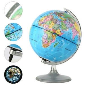 Large World Globe Illuminated Earth Rotating Map LED Light Interactive Geography