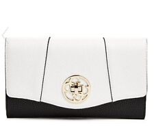 NWT GUESS Authentic Exotic Wallet Purse Slim Clutch White Black