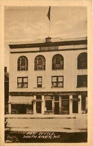 NEW JERSEY PHOTO POSTCARD: STREET SCENE OF POST OFFICE SOUTH RIVER, NJ