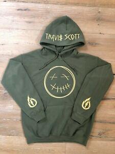 Travis Scott Hoodie Smiley Face La Flame Sleeves Name on Hood Green (Tan Print)