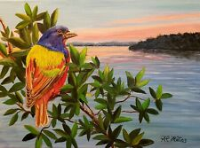 Painted Bunting on branch (Original oil painting unframed signed by the artist)