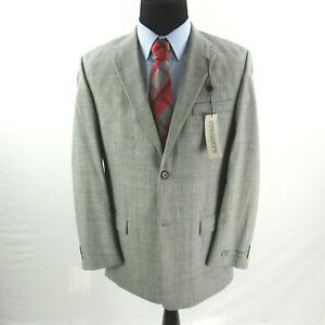 NEW Kenneth Cole Gray Glen Plaid Sport Coat Mens Blazer 100% Wool