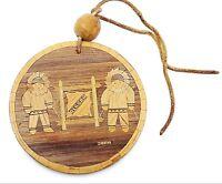 Vintage Zola Alaskan Inlaid Mosaic Art Wooden Ornament Alaska
