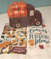 "Cotton Hand Towels Harvest Blue Truck w// Pumpkins /""Thankful/"" Cookie//Snack Jar"