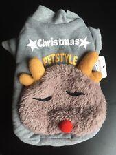 Dog Christmas Jumper Costume Reindeer Cute Warm Fleece XS 34cm