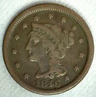 1846 Braided Hair US Large Cent Coin 1c US Coin One Cent Fine Circulated Penny