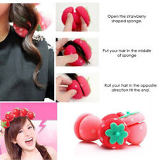 24pcs Strawberry Sleep In Hair Curlers Roller Magic Soft Foam Sponge Curls DJ8