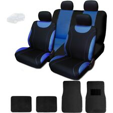 New Sleek Flat Cloth Black and Blue Seat Covers With Mats Set For Mazda