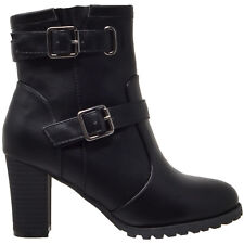Women's Ankle Boots Lace Up Booties Chunky Stacked High Heel Rugged Padded Shoes