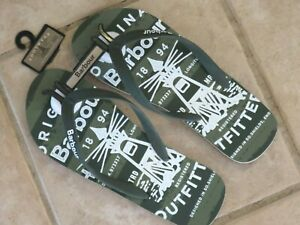 Barbour Beacon Mens Flip Flop Pool Beach Summer Shoes Sandals USA 10 Olive ~ NWT