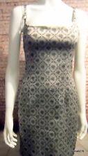 metallic silver grey black brocade stretch wiggle corset strappy dress 12 New