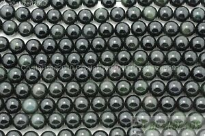 """Natural Obsidian Gemstone Round Beads 2mm 3mm 4mm 5mm 6mm 8mm 10mm 12mm 14mm 16"""""""