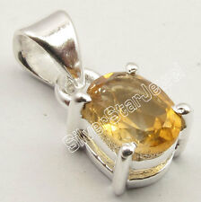 Free Shipping !!! .925 Pure Silver YELLOW CITRINE 4 Prong Pendant 1.8 CM @ $0.99