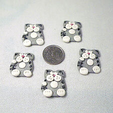 5 silver cat clay toppers card making craft handmade