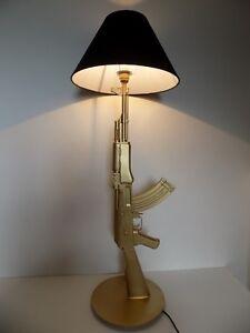 Lamp Design AK47 Kalashnikov Gold (Bedside Office Table Salon Kalash Ak Gun )