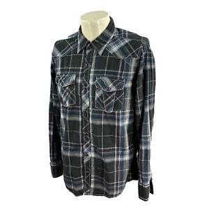 BKE Buckle Men's Slim Fit Pearl Snap Long Sleeve Black Plaid Shirt Large