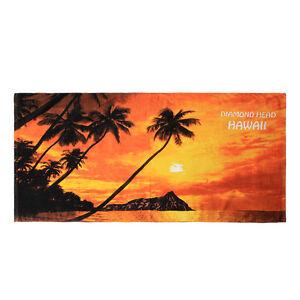 Hawaii Beach Towel 100% Cotton Large 60x30 Red Sunset Scenic Diamond Head Plam