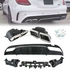 Rear Bumper Lip Diffuser Muffler Exhaust Tip For Benz W205 2015-2018 C63 Style