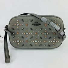 Coach NWT Prairie Rivets Crossbody Bag/Clutch Grey Suede/Leather $225
