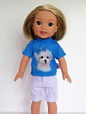 "Maltese Puppy Short Set Fits American Girl 14.5"" Wellie Wisher Doll Clothes"