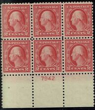 PLATE# BLOCK OF 6 #463 STAMPS-PLATE#7942 FROM THE #467 ERROR SHEET MINT-OG/NH