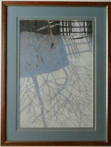 WILLIAM HENRY INNES 1905-1999 ORIGINAL SIGNED OIL PASTEL 'SHADOWS IN THE SNOW'
