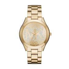 Michael Kors Slim Runway Womens Ladies Wrist Watch Gold Strap Face Dial MK3590