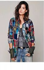 Free People Patchwork Lost In Plaid Flannel Shirt /Top Buttondown Medium  RARE