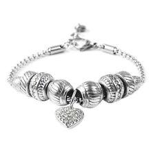Crystal Rhinestone Stainless Steel Valentine Heart Charm Bracelet Bangle 7-8''