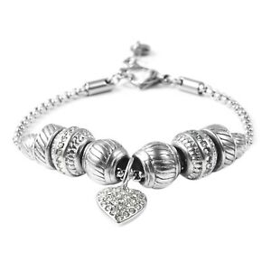 Crystal Rhinestone Stainless Steel Valentine Heart Charm Bracelet Bangle 7-8''