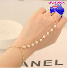 Gothic Hand Harness Faux Pearl Beads Finger Ring Link Bracelet Bangle Chain