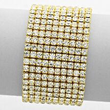 Rhinestone Bracelet 10 Row Wide Stretch Bangle Crystal Pave Wedding Bride GOLD