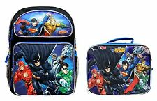 "Justice League Batman & Superman 16"" Backpack and 9"" LunchBag SET"