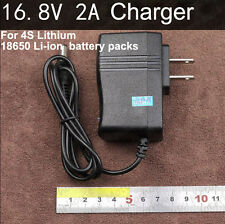 US AC/DC 16.8V 2A 2000mA Charger adapter for 4s Lithium 18650 Li-ion Battery