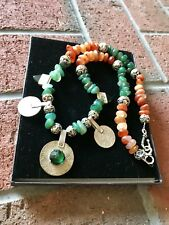 Moroccan vintage coins & Tagmoute beads with old carnelian and quartz necklace.